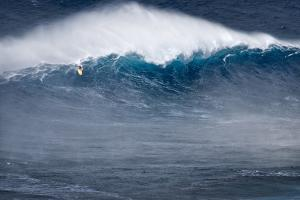 Hawaii, Maui. Kai Lenny Stand Up Paddle Board Surfing Monster Waves at Pe'Ahi Jaws by Janis Miglavs