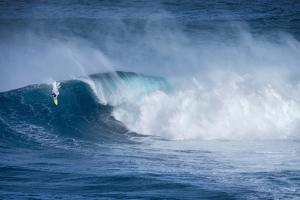 Hawaii, Maui. Kai Lenny Surfing Monster Waves at Pe'Ahi Jaws, North Shore Maui by Janis Miglavs