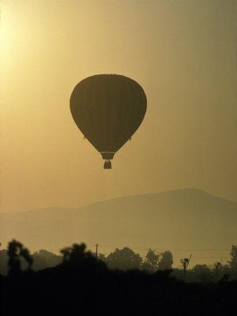 Hot Air Balloon Over Napa Valley at Sunrise, Oregon, USA