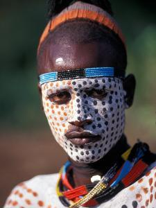 Karo Warrior in Traditional Body Paint, Ethiopia by Janis Miglavs