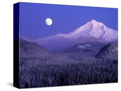 Moon Rises Over Mt. Hood, Oregon Cascades, USA