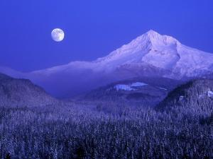 Moonrise over Mt. Hood, Oregon, USA by Janis Miglavs