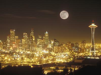 Moonrise over Nighttime Seattle, Washington, Usa