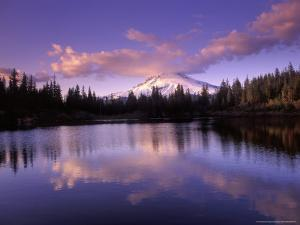 Mt Hood Reflected in Mirror Lake, Oregon Cascades, USA by Janis Miglavs