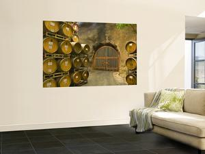 Oak Barrels Stacked Outside of Door at Ironstone Winery, Calaveras County, California, USA by Janis Miglavs