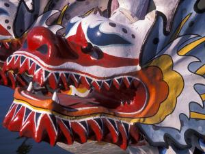 Ornate Detail of a Dragon Boat on the Willamette River, Rose Festival, Portland, Oregon, USA by Janis Miglavs