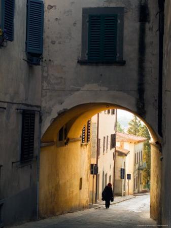 Person and Archway, Panzano, Chianti Region, Tuscany, Italy