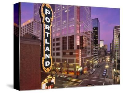 Portland Sign at the Arlene Schnitzer Concert Hall on Broadway, Portland, Oregon, USA