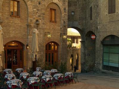 Restaurant in a Small Piazza, San Gimignano, Tuscany, Italy