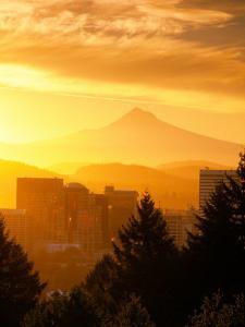 Sunrise on Mt Hood and Downtown, Portland, Oregon, USA by Janis Miglavs