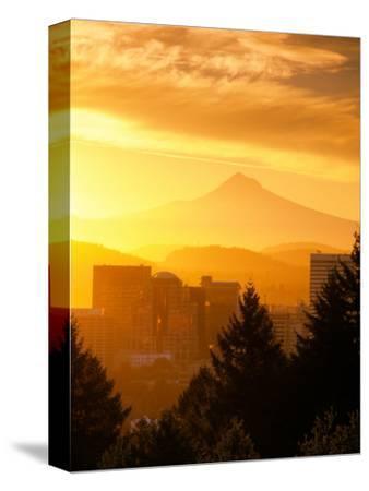 Sunrise on Mt Hood and Downtown, Portland, Oregon, USA