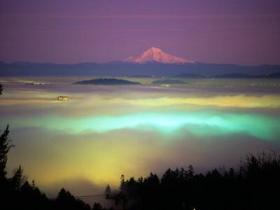 Willamette River Valley in a Fog Cover, Portland, Oregon, USA