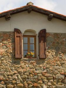 Window and Shutters with Flowerbox of Yellow Flowers, Figline Village, Tuscany, Italy by Janis Miglavs
