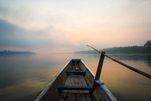 Morning of the Lake with  the Boat by jannoon028