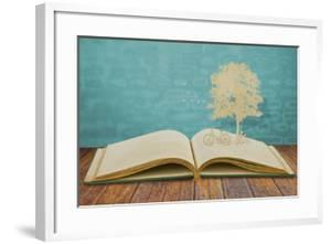 Paper Cut Of Children Read A Book Under Tree On Old Book by jannoon028