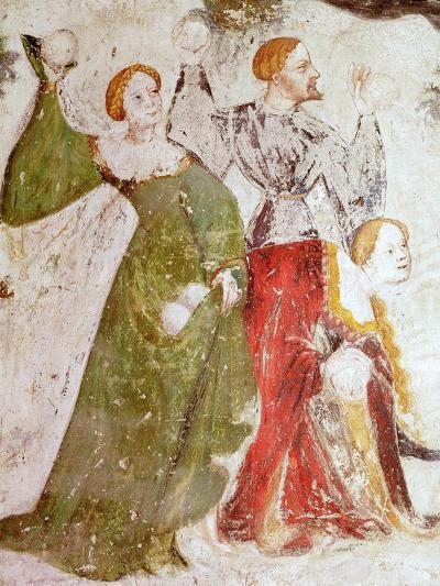 January or Aquarius with Courtiers in Snowball Fight Outside Stenico Castle- Venceslao-Giclee Print