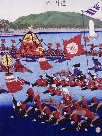 Japan, Armed Troops Crossing Lake, Ukiyo-E Woodblock Print from Edo Period--Giclee Print