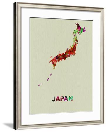 Japan Color Splatter Map-NaxArt-Framed Art Print