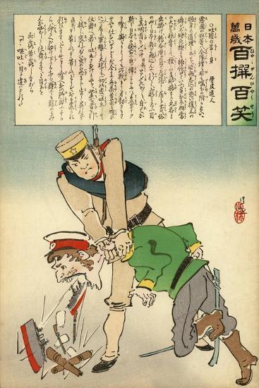 Japan Forcing Russia to Disgorge Her Brave Threats-Kobayashi Kiyochika-Giclee Print