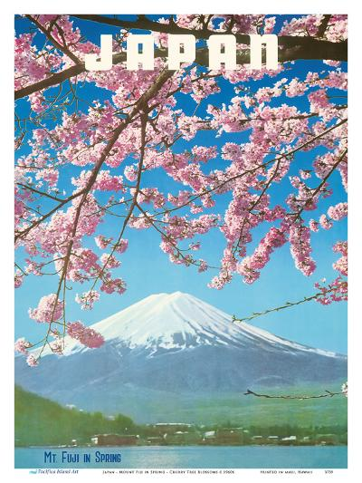 Japan - Mount Fiji in Spring - Cherry Tree Blossoms-Pacifica Island Art-Art Print