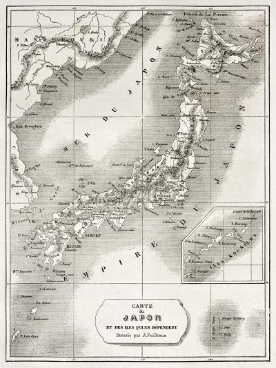 Japan Old Map. Created By Vuillemin And Erhard, Published On Le Tour Du Monde, Paris, 1860-marzolino-Art Print