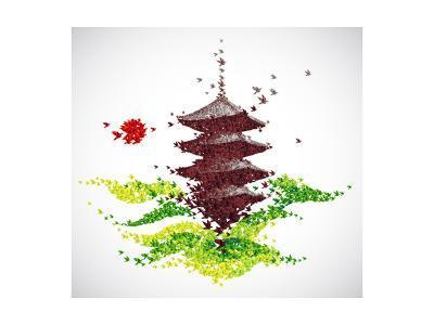 Japan Origami Temple Shaped From Flying Birds-feoris-Art Print