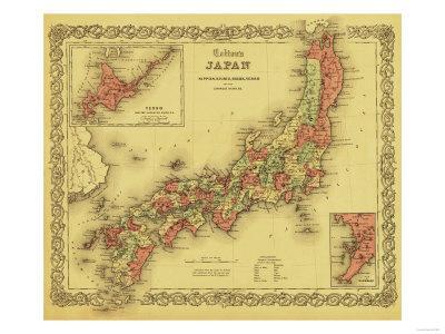 photo regarding Printable Maps of Japan named Japan - Panoramic Map Artwork Print via Lantern Force