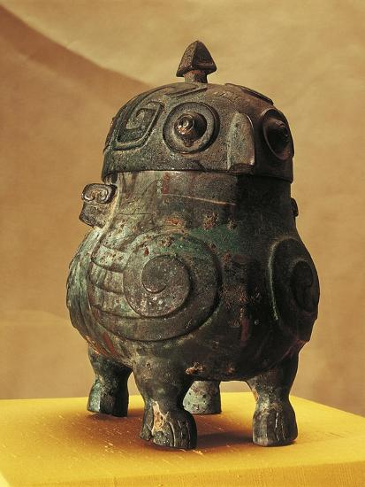 Japan, Shanxi, Shi Lou, Wine Vessel in the Shape of Two Stylized Owls, Found in 1957--Giclee Print