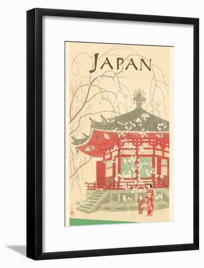 Japan - Shrine and Cherry Blossoms-Pacifica Island Art-Framed Art Print