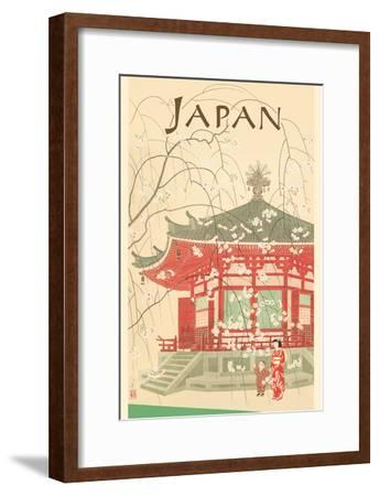 Japan - Shrine and Cherry Blossoms-Pacifica Island Art-Framed Art Print
