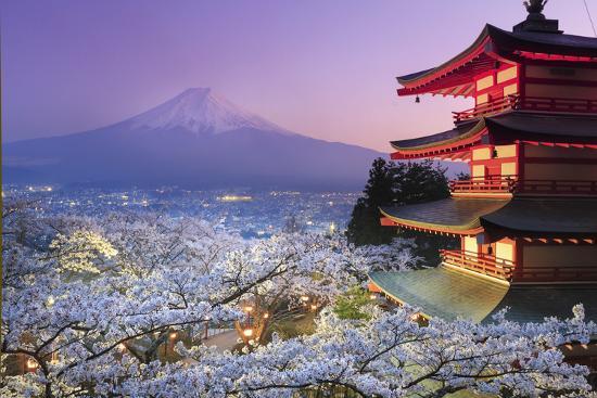 Japan Yamanashi Prefecture Fuji Yoshida Chureito Pagoda Mt Fuji And Cherry Blossoms Photographic Print By Michele Falzone Art Com