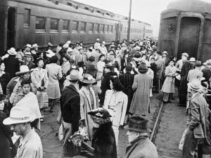 Japanese-American Internees Waiting to Board Train to Santa Anita, Los Angeles, c.1942
