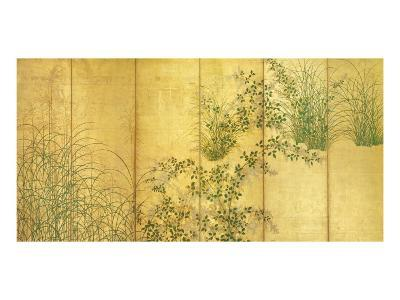 Japanese Autumn Grasses, Six-Fold Screen, Early Edo Period--Premium Giclee Print