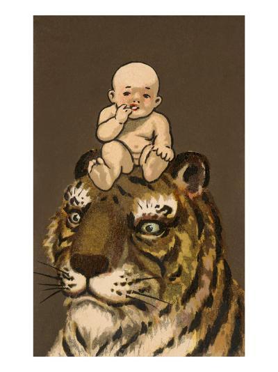 Japanese Baby on Tiger's Head--Art Print