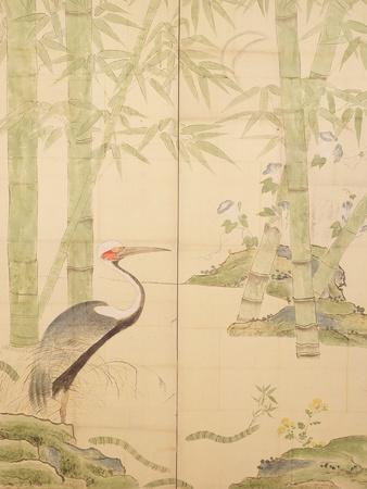 Bamboo and Crane, Edo Period (W/C on Panel)