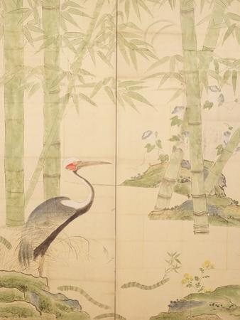 Bamboo and Crane, Edo Period (W/C on Panel) by Japanese