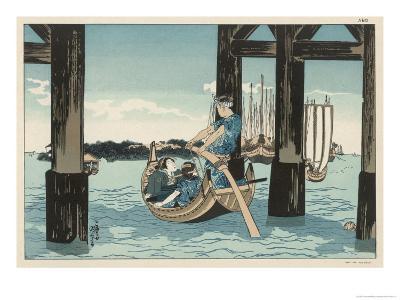 Japanese Boating Party, a Boatman Carries Two Ladies to an Island-Kuniyoshi Utagawa-Giclee Print