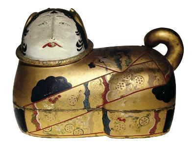 Japanese Cat Shaped Container for Newborn's Clothing and Talisman Against Evil Spirits--Photo