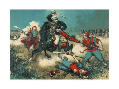 Japanese Cavalry Engages Boxers at Walled City--Art Print