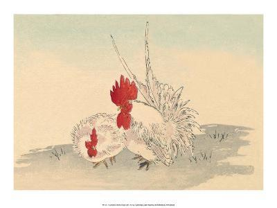 Japanese Chicken and Rooster-Haruna Kinzan-Art Print