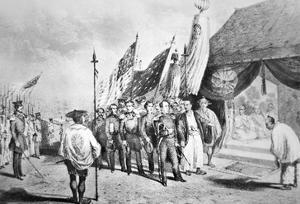 Commodore Perry in Japan in 1853 Meeting Imperial Commissioners at Yokohama by Japanese