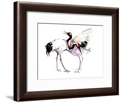 Japanese Crane Dance 2-Suren Nersisyan-Framed Art Print