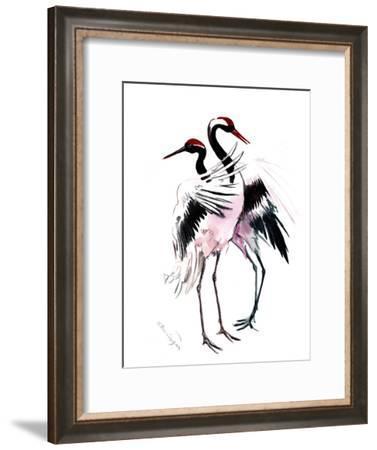 Japanese Crane Dance 3-Suren Nersisyan-Framed Art Print