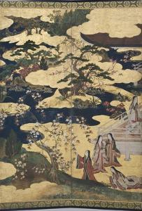 Detail of Spring in the Palace, Six-Fold Screen from 'The Tale of Genji', C.1650 by Japanese