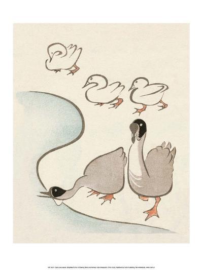 Japanese Drawing of Ducks and Geese-Kitao Masayoshi-Art Print