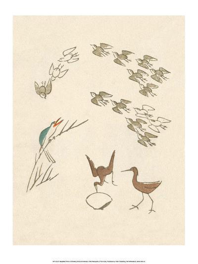 Japanese Drawing of Flight of Birds-Kitao Masayoshi-Art Print