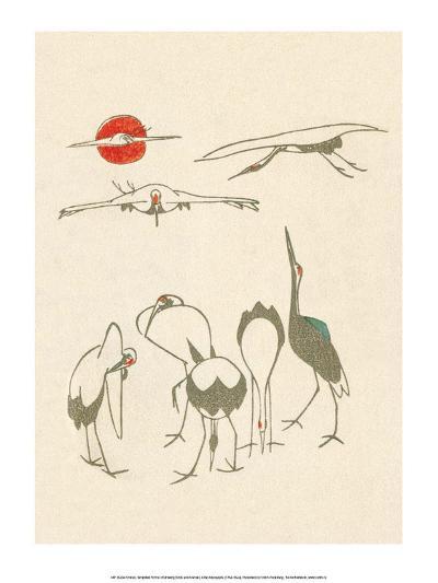 Japanese Drawing of Flying Cranes-Kitao Masayoshi-Art Print