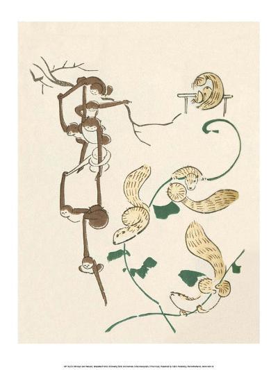 Japanese Drawing of Monkeys and Weasels-Kitao Masayoshi-Art Print