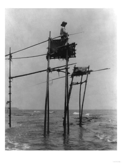 Japanese Fisherman in Bamboo Tower Photograph - Kamakura, Japan-Lantern Press-Art Print