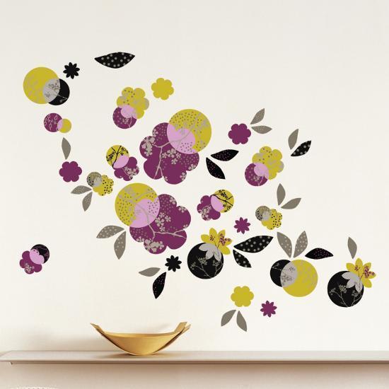 japanese flowers wall decal| art